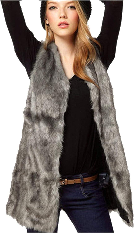 Women Gilet Waistcoat Lapel Fur Vest Coat Warm Outwear Double-breasted Cardigans