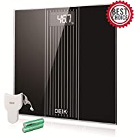 Báscula de Baño Digital de Alta Medición Precisa 180kg / 400lbs con 300 x 300 x 26 mm Balanza Baño con Gran Plataforma y LCD Retroiluminación, Cinta Métrica Incluida y 2 baterías AAA, Cristal Negro.