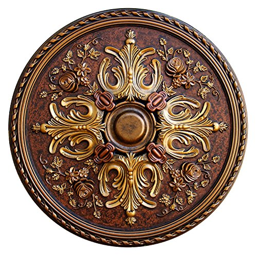 Fine Art Deco Floral Desire Hand Painted Ceiling Medallion 32-3/4 In. Finished in Bronze, Gold and Copper by Fine Art Deco