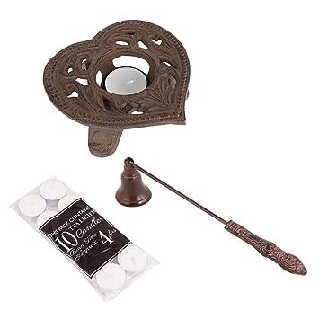 Gusseisen Teelichthalter, Kerzenlöscher Und Teelicht Geschenk Set, Rustikal  Verziert Kerzenhalter Mit Floral Heart Design