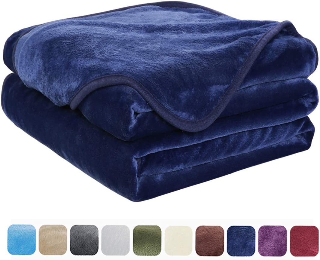 EASELAND Soft King Size Blanket All Season Winter Warm Fuzzy Microplush Lightweight Thermal Fleece Blankets for Couch Bed Sofa,90 108 Inches,Navy