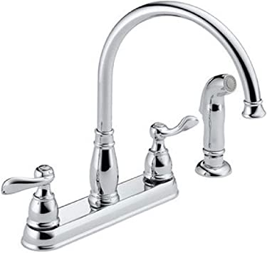 Delta Faucet Windemere 2 Handle Kitchen Sink Faucet With Side Sprayer In Matching Finish Chrome 21996lf Touch On Kitchen Sink Faucets Amazon Com