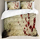 Horror House Bedding Duvet Cover Sets for Children/Adult/Kids/Teens Twin Size, Grunge Dirty Wall with Bloody Hand Print Murky Palm Trace Victim Violence Print, Hotel Luxury Decorative 4pcs, Red Beige