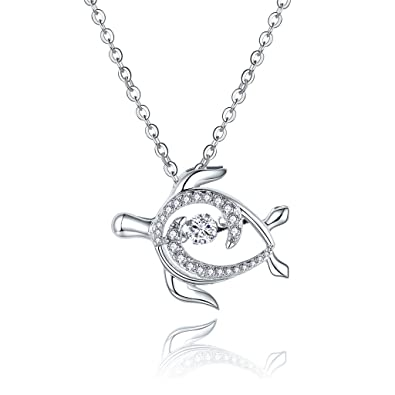 b567f1714 Amazon.com: JO WISDOM 925 Sterling Silver Sea Turtle Pendant Necklace with  5A Dancing Diamond Cubic Zirconia, 18-20