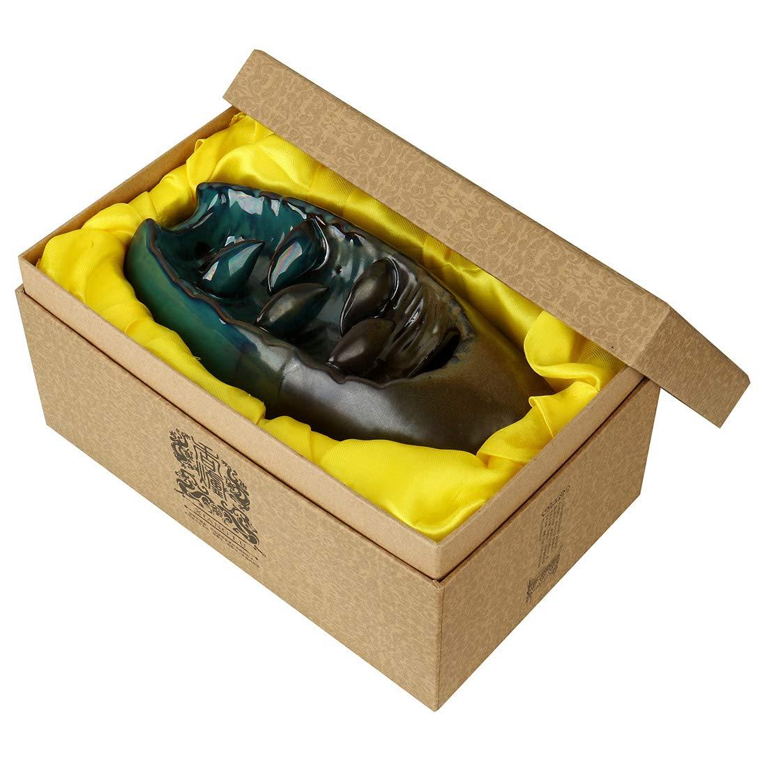 AlenX Backflow Incense Holder, Home Incense Burner 10PCs Backflow Incense, Ceramic Incense Holder Incense Burner (90x90x205mm) by YYW (Image #2)