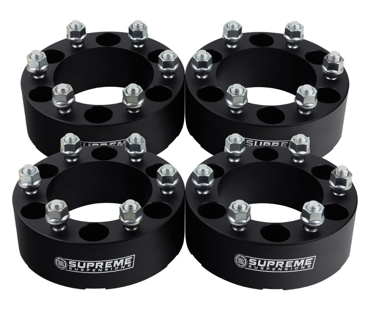 Supreme Suspensions 4pc 1995-2015 Toyota Tacoma 1.5'' Wheel Spacers 6x5.5 (6x139.7mm) with M12x1.5 Studs [Black]