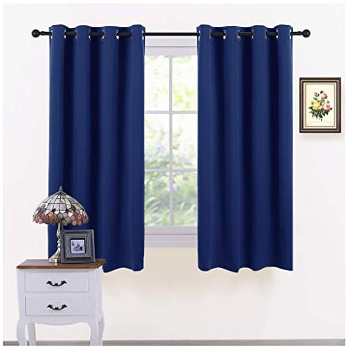 PONY DANCE Eyelet Blackout Curtains   Thermal Insulated Top Ring Kitchen  Short Curtain Drapes For Bedroom