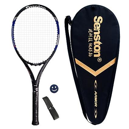 senston Calidad Carbono Raqueta de Tenis para Adulto/Bolsa De Tenis/1 Grip/1 Amortiguadores