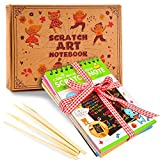 aGreatLife Rainbow Scratch Art Notebooks: Best Scratch Rainbow Notes - Drawing Notepads For Kids with 4 Colorful Mini Notebooks and 4 Wooden