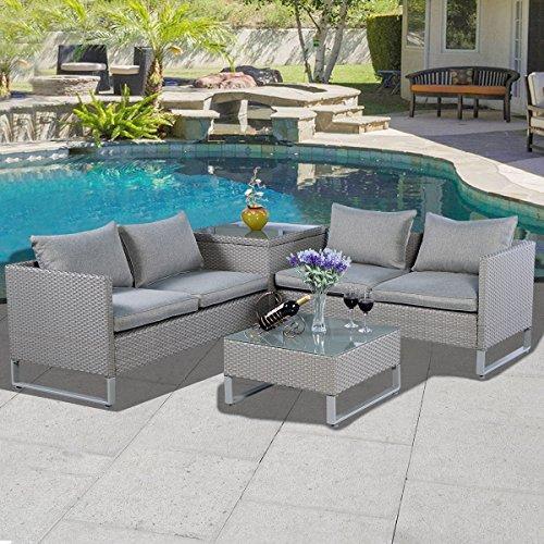 Tangkula 4pcs Gray Rattan Wicker Patio Sofa Cushion Seat
