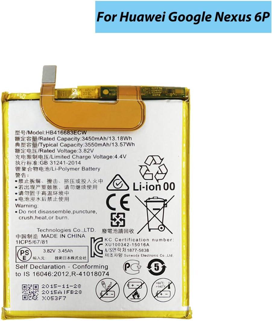 Shidai HB416683ECW Replacement Battery Compatible with Huawei Google Nexus 6P H1511 H1512,Huawei Google Nexus 6p with Tools