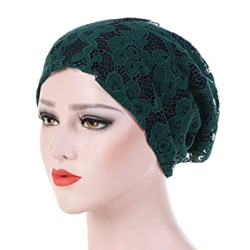 Turban Hat Ladies Lace Hat Bicolor Gorra Ribete De Flor Gorra Casual, Verde: Amazon.es: Deportes y aire libre