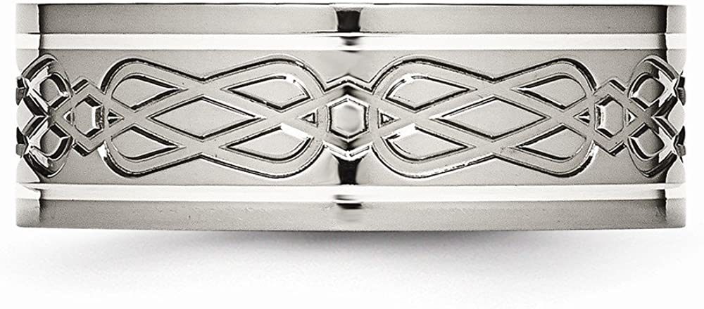 Wedding Bands Celtic Bands Titanium Sterling Silver Inlay Celtic Knot Flat 8mm Polished Band Size 11