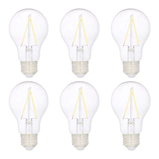 AmazonBasics 40W Equivalent, Clear, Daylight, Non-Dimmable, 10,000 Hour Lifetime, A19 LED Light Bulb   6-Pack