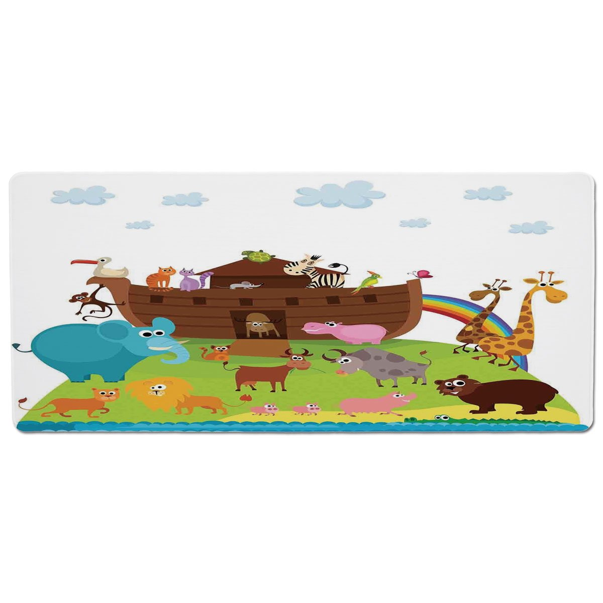 35.4\ iPrint Pet Mat for Food and Water,Noahs Ark,Various Safe Animals Two of Every Kind Boarding Noahs Ark Clip Art Design Print,Multicolor,Rectangle Non-Slip Rubber Mat for Dogs and Cats