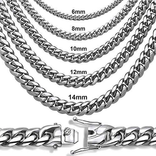 Sterling Manufacturers Premium Stainless Steel Heavy Miami Cuban Chain Necklace or Bracelet. (12 mm 9