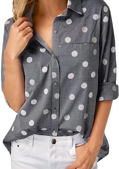 Cinnamou Blusa para Mujer Lunares, Mujer Camisas Fiesta Verano Manga Larga Casual Blusas (Gris, L): Amazon.es: Ropa y accesorios