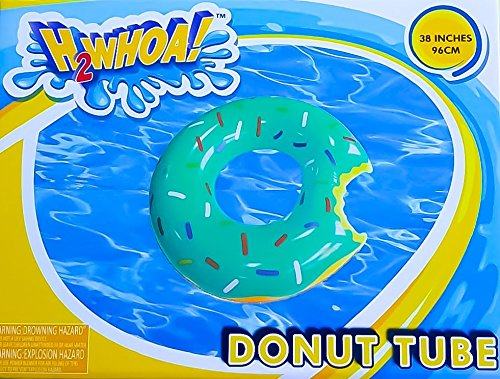 Inflatable Green Mint Frosting Donut with Sprinkles Pool Float