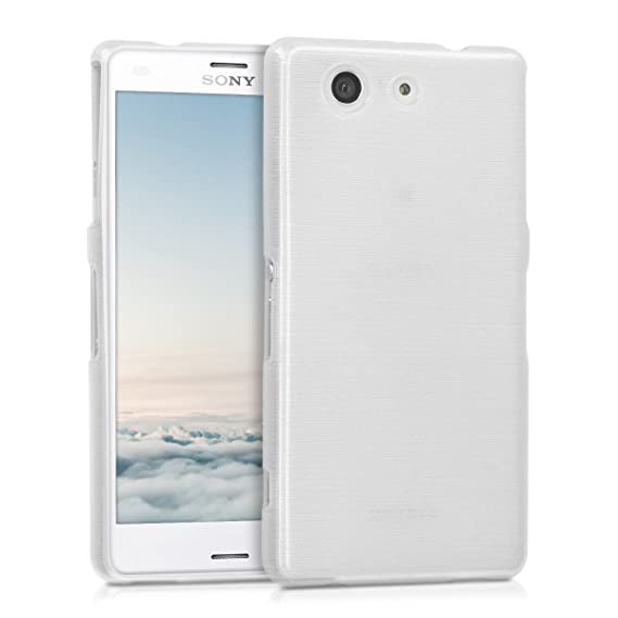 separation shoes bb31e 8a45e kwmobile TPU Silicone Case for Sony Xperia Z3 Compact - Soft Flexible Shock  Absorbent Protective Phone Cover - White/Silver