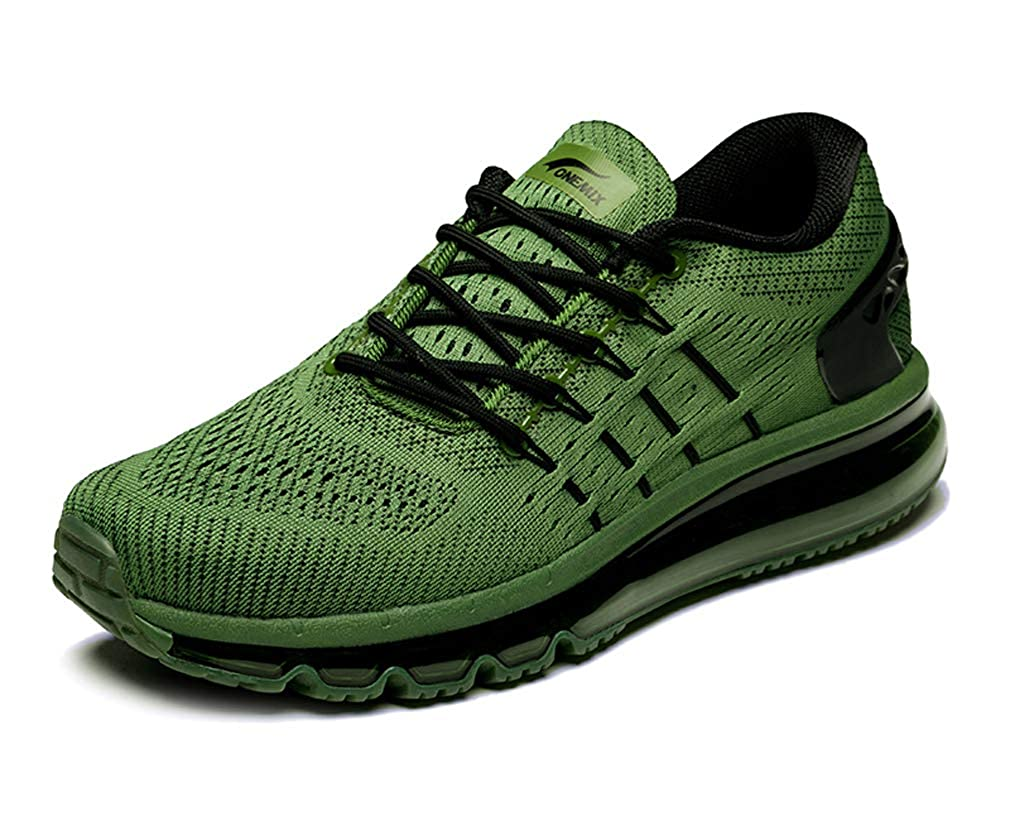 Army Green UB-ONEMIX Mens Lightweight Air Running shoes Breathable Gym Outdoor Unique Walking Sneakers