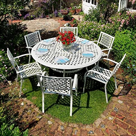 Blanca Valerie 150 cm redonda muebles de jardín de aluminio - 1 blanco Valerie mesa 6 sillas + blanca MARIA: Amazon.es: Hogar