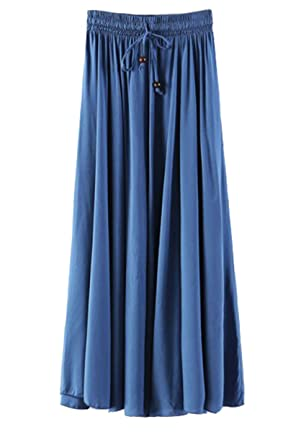 ac160c9bea4c Damen Rock Lang Maxirock aus Viskose Elastisch Sommer Kleid Elegant ...