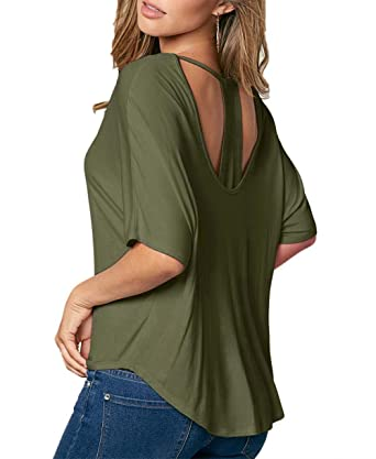 DREAGAL Ladies O Neck Hollow Back Solid Loose Casual T-Shirt Army Green Small