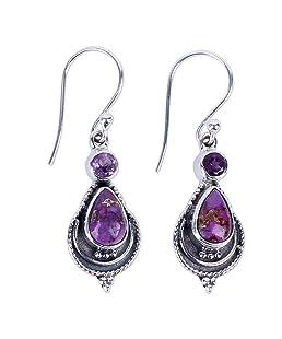 Earrings gLoaSublim,1 Pair Vintage Women Faux Turquoise Drop Dangle Hook Earrings Party Jewelry Gift - Purple
