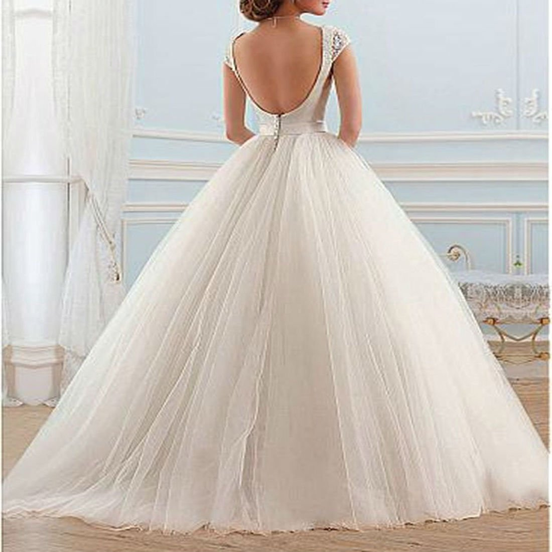 Yilian Cinderella Beaded Cap Sleeve Backless Tulle Ball Gown Wedding Dress