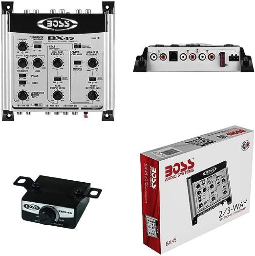 1 Crossover BOSS Audio System BX45 Bx 45 Ecualizador electr/ónico de 2//3 v/ías 3 Salidas Front//Rear//Sub con Control Remoto subwoofer Incluido 1 Pieza