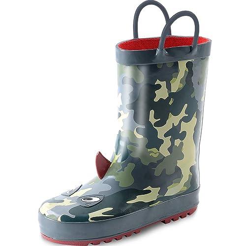 Kushy Shoo Kids Boy Rain Boots, Waterproof Printed Rubber Rainboots With Easy On Handles For Toddler/Little Big Kids by Kushy Shoo