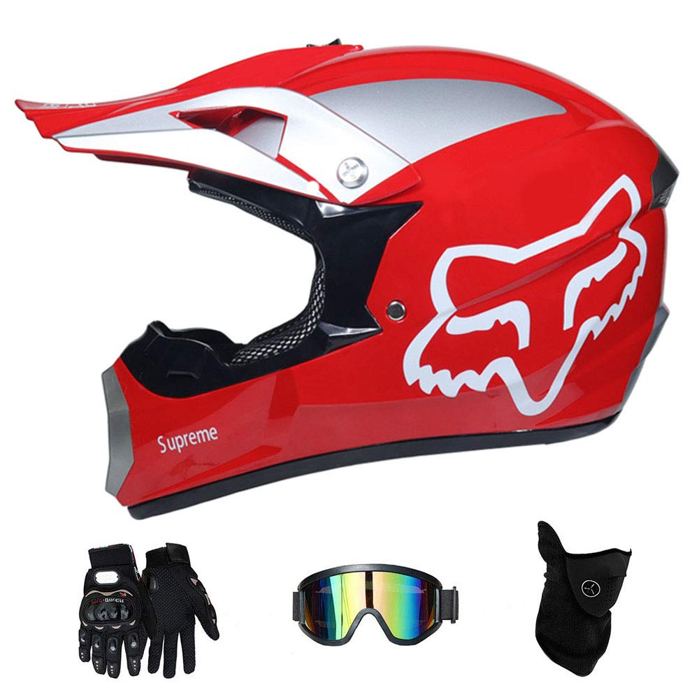 S, M, L, XL RAON Adult Motocross Helmet MX Motorcycle Helmet ATV Scooter ATV Helmet series D.O.T Certified with Goggles Gloves Windproof Mask
