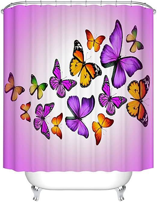 chaqlin Shower Curtain Unique Butterfly Pattern for Decorative Bathroom Curtains