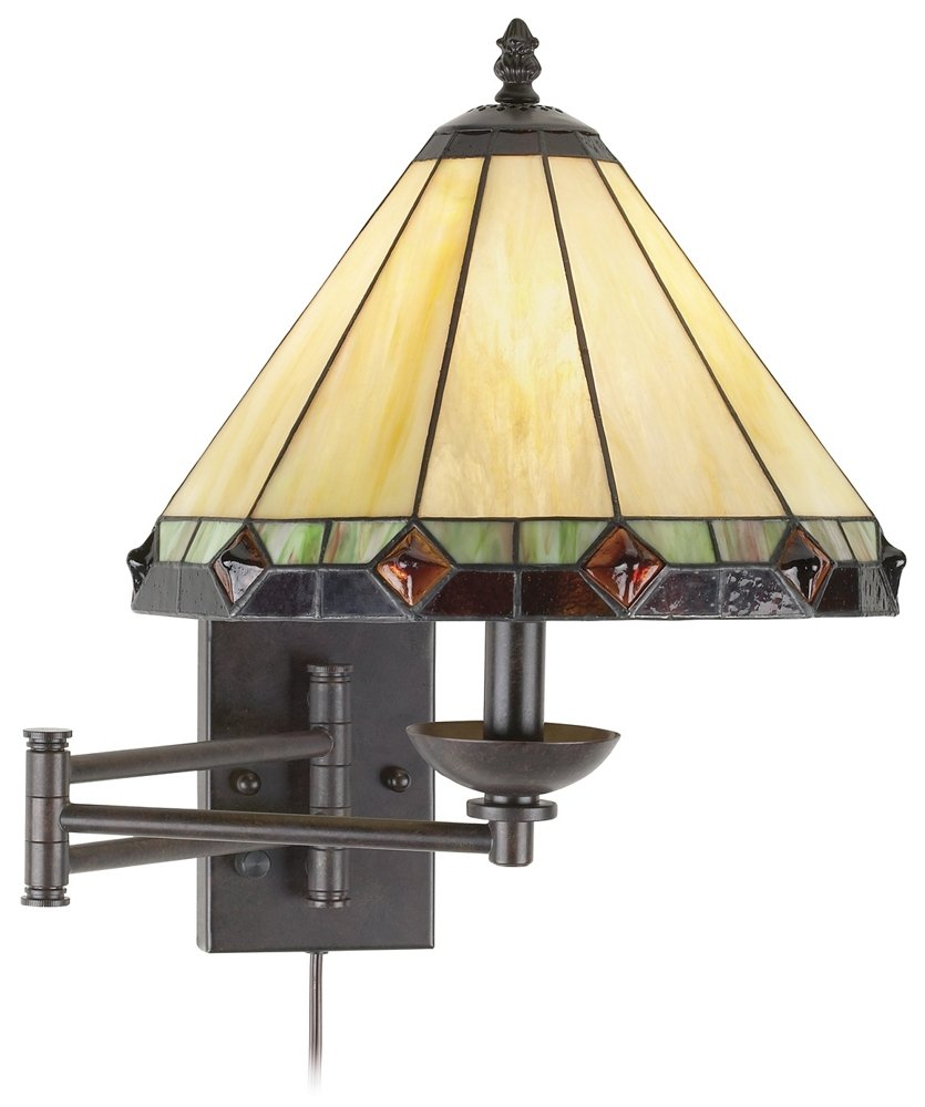 Tiffany Style Glass Panel Plug-In Swing Arm Wall Lamp - Wall Porch ...