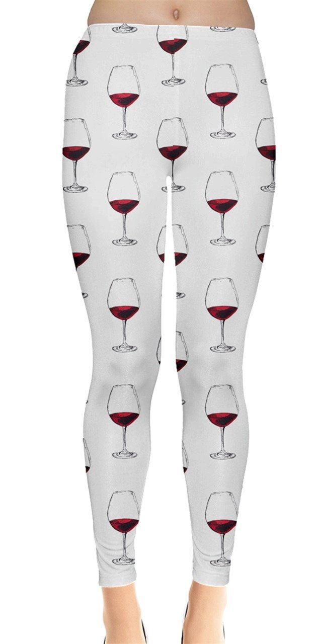 CowCow Womens Red Wine Glass Purple Pattern with Wine Glasses Leggings, Red - L