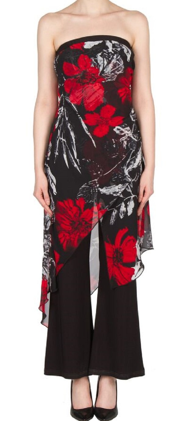 Joseph Ribkoff Mock 2-Piece Strapless Jumpsuit with Floral Chiffon Overlay Style 173620 - Size 6 by Joseph Ribkoff