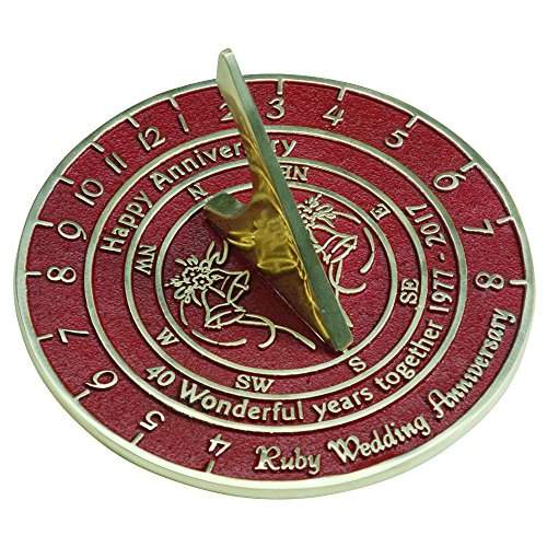 Handmade Ruby Wedding & Anniversary Sundial Gift By The Metal Foundry Ltd.