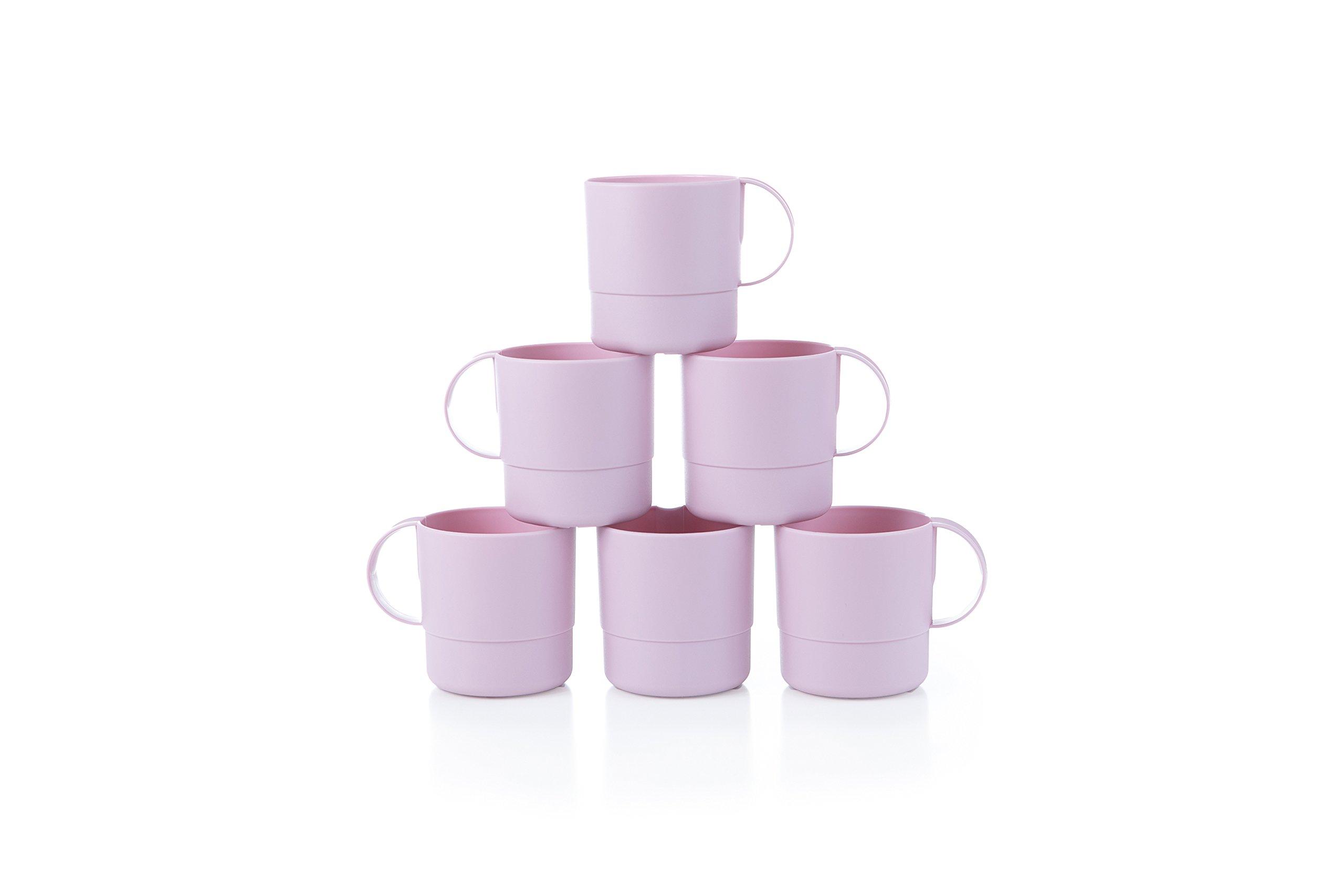 Amuse- Eco Friendly Sturdy Unbreakable & Stackable Mugs for Water, Coffee, Milk, Juice, Tea- Set of 6-11 oz (Purple)