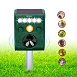 ZOVENCHI Ultrasonic Animal Pest Repellent, Outdoor Solar Animal Repeller with LED Flashing Light, Waterproof Pest Repeller with Motion Sensor, Repel Dogs, Cats, Squirrels, Rabbits and more