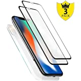 [3-Pack] iPhone X Front and Back Glass Screen Protectors, Full Coverage [Case Friendly] iPhone X Screen Tempered Glass Rear Protector Tempered Glass 2 Pack for Apple iPhone X Black (2017)