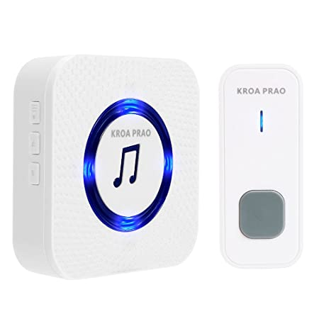 KROA PRAO Wireless Doorbell Chime Waterproof, Digital Door Chime Kit, 55 Chimes with 1000 Feet Operating Long Range,1 Receiver and 1 Push Button Battery include for Home-White