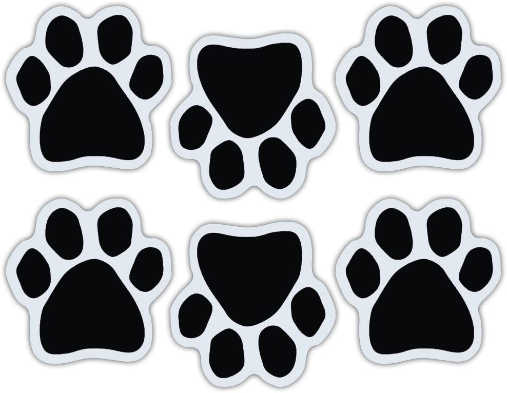 Crazy Sticker Guy Mini Dog Paw Magnets (Set of 6) - Black Paws - Decorate Your Car, Refrigerator and More