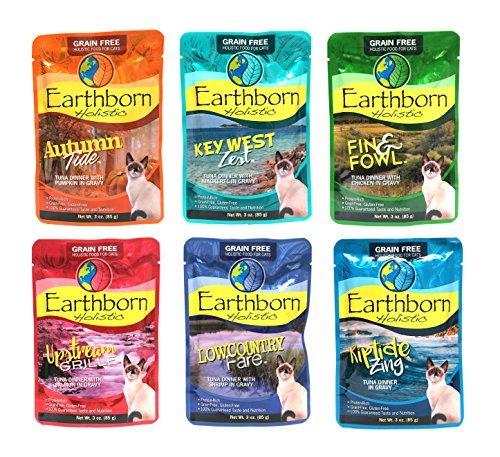 Earthborn Holistic Grain Free Wet Cat Food Pouches, 6 Flavor