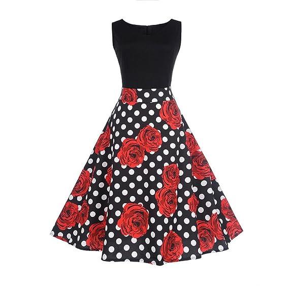 Vestido de mujer, ❤️Xinantime Vestido elegante floral mujer rosa Vestido de bola sin mangas de la vendimia Vestido de té Hepburn: Amazon.es: Ropa y ...