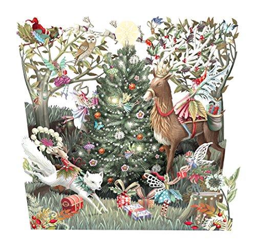 Paper D'Art Forest Fairies Tri Fold Christmas Card
