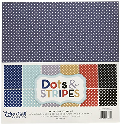 Echo Park Paper Company DS16030 Travel Dots & Stripes 12x12 Collection Kit (12 X 12 Dots)