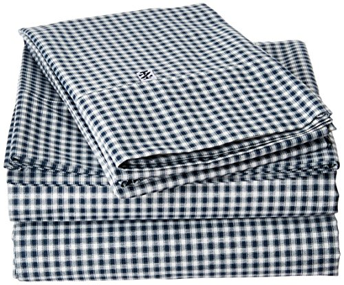 IZOD Gingham Sheet Set - The sheets are brushed for extra softness and feature a classic gingham print in dress blue with a 4-inch attached hem and IZOD logo vanity tag Deep pocket fitted sheets will fit mattresses up to 15-Inch deep Set includes flat and fitted sheet and two pillowcases - sheet-sets, bedroom-sheets-comforters, bedroom - 618xAO wJlL -