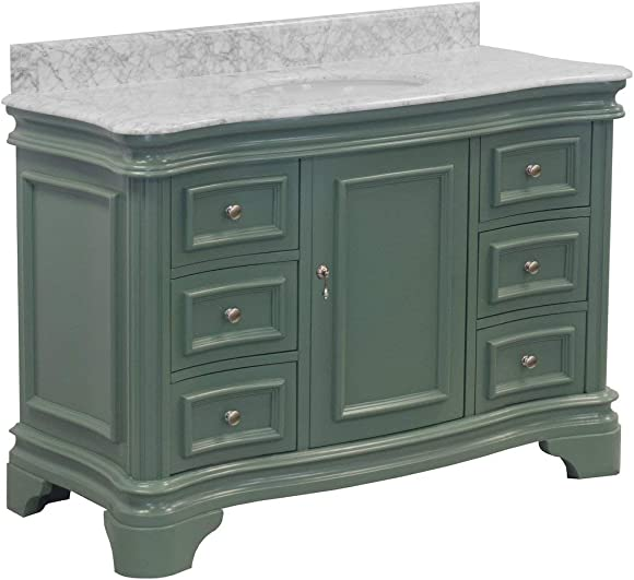 Katherine 48-inch Bathroom Vanity Carrara/Sage Green : Includes Sage Green Cabinet