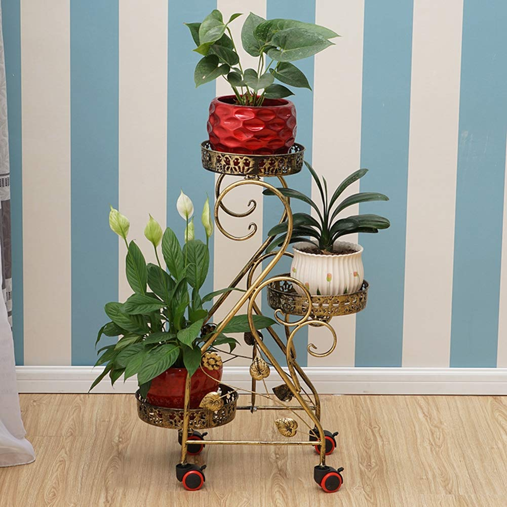 3-Tiered Metal Plant Stand Decorativo Da Giardino Patio In Piedi Pianta Vaso Di Fiori Display Shelf Holds 3-Flower Pot, Con Moderna S  Design,oro
