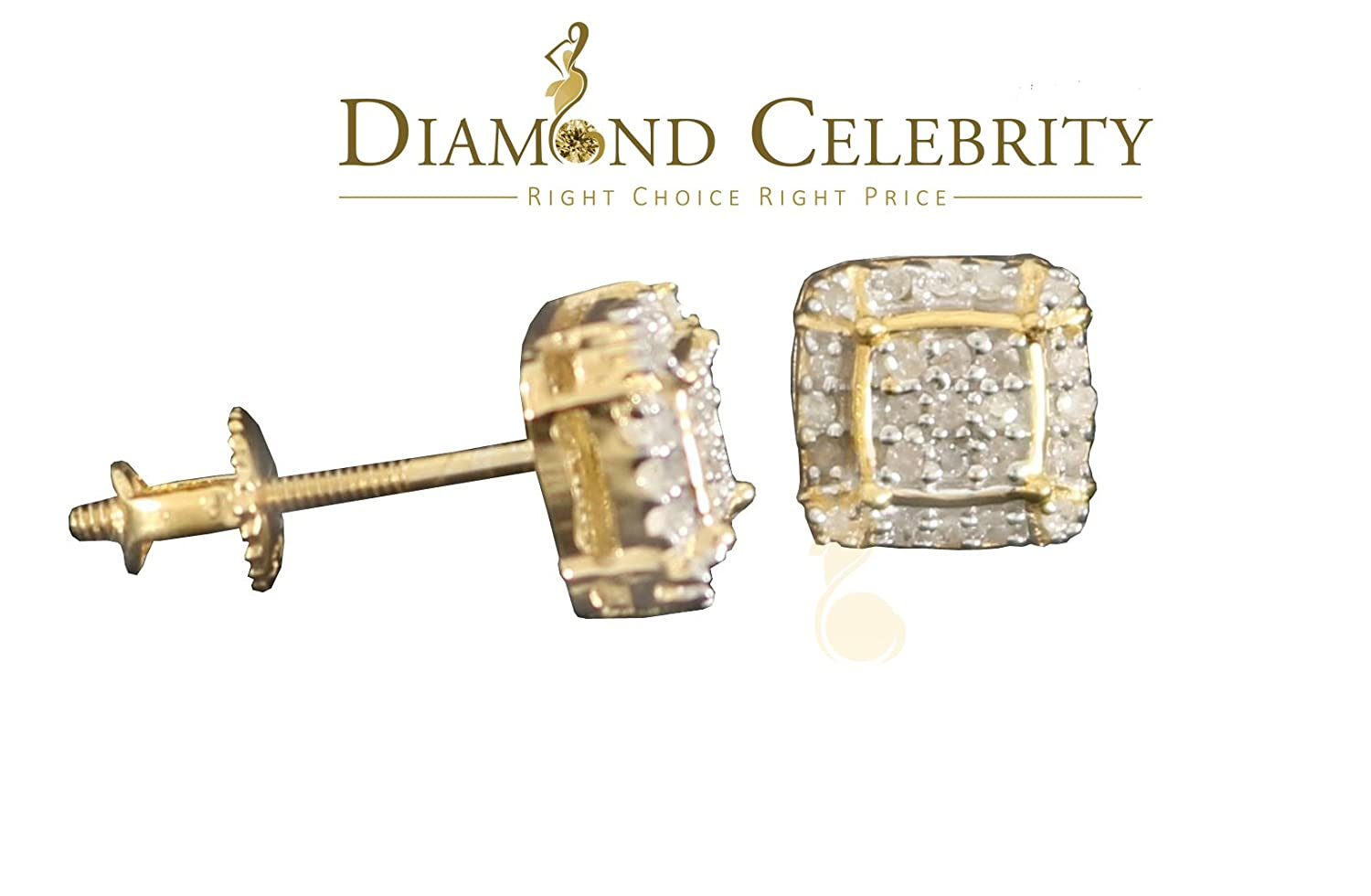 10K Yellow Gold Finish Real Diamond 0.15CT Silver Square Mens Studd Earring